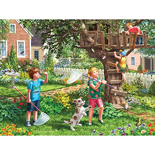 Bits and Pieces - 500 Piece Jigsaw Puzzle for Adults - Back Yard Fun - 500 pc Spring, Treehouse, Flowers Jigsaw by Artist Liz Goodrick-Dillon