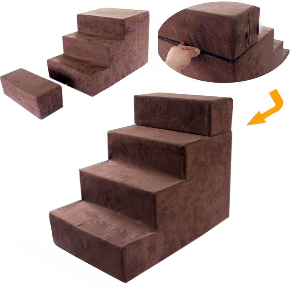 3+1 step (brown) toparchery Pet Dog Stairs to get on High Bed Foldable Easy 4 Steps with Washable Cover for Dogs and Cats Best for Small Pets … (3+1 step (brown))