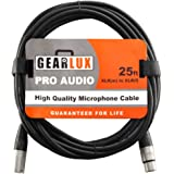 Gearlux XLR Microphone Cable Male to Female 25 Ft Fully Balanced Premium Mic Cable, 25 Foot