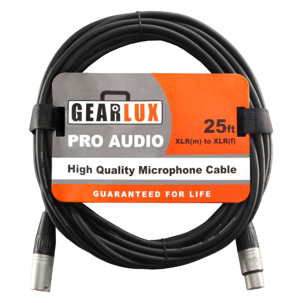 Gearlux XLR Microphone Cable, 25 Foot