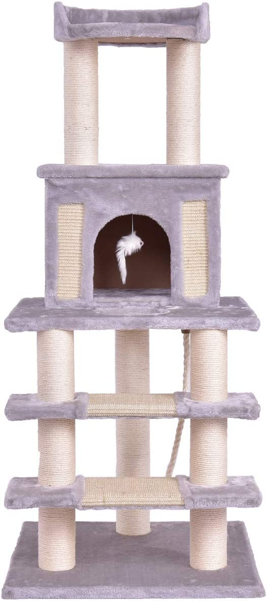 PETSJOY 52 Cat Tree Tower, Cat Condo Tower, Home Furniture Kitten Activity Tower Condo with Perches Scratching Post Rope Ladder, Play House Activity Centre for Cats Gray