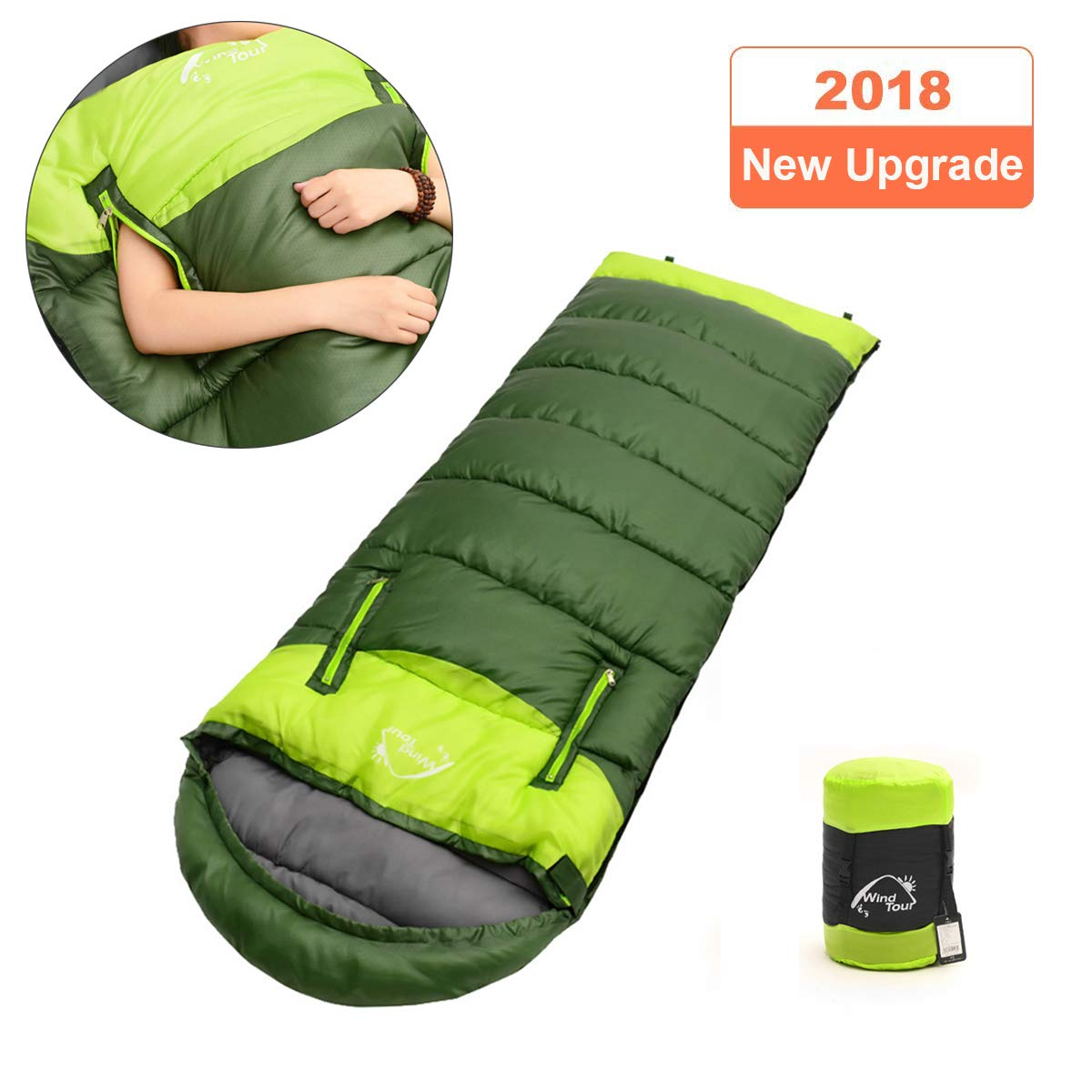 Upstartech Sleeping Bag,Envelope Sleeping Bag Lightweight Mummy Sleeping Bag 4 Season with Free Hand Design for Outdoors,Indoors,Camping,Hiking