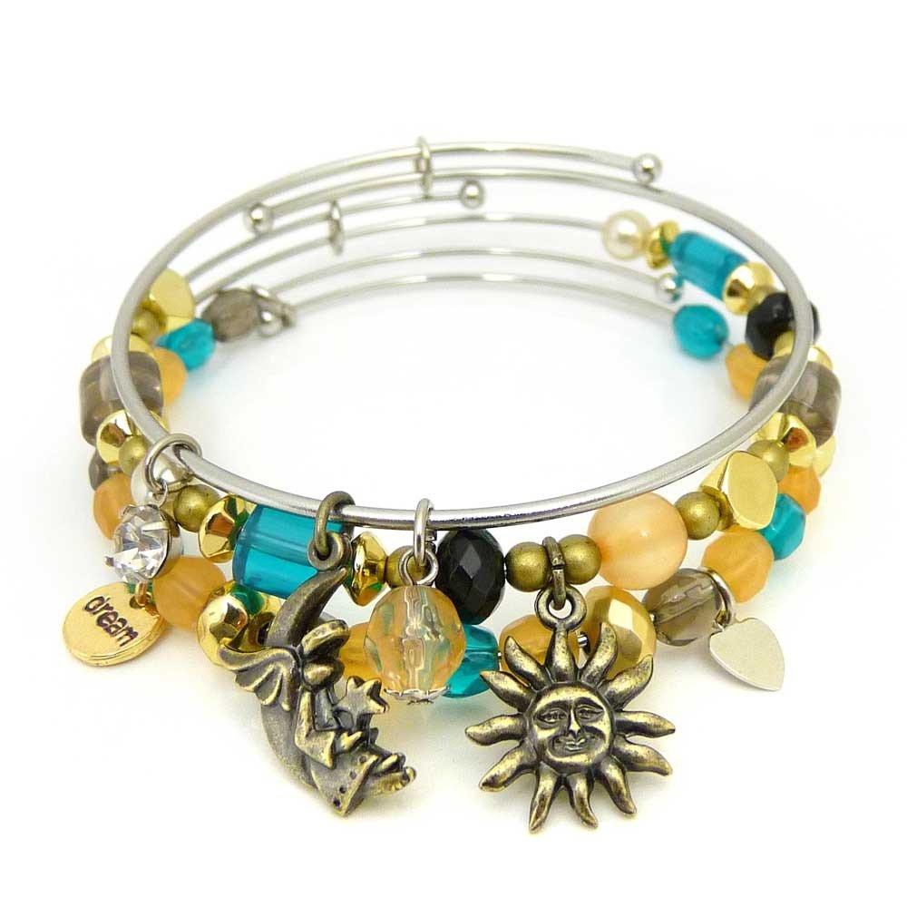 Symbology 'Sweet Dreams' Bangle Bracelet Set Three Piece Expandable Wire Charm Bracelet With Multiple Colors That Pop Perfect Jewelry For Fashion Ceswx 1114003JA