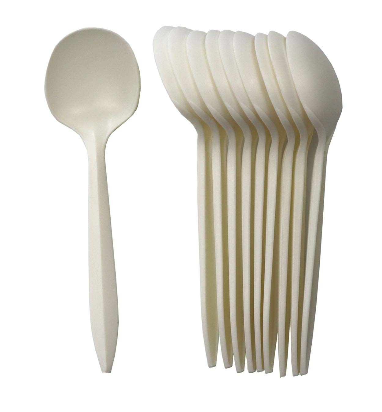 GreenWorks Eco-friendly Plant Starch Disposable Cutlery,1000 ct Cornstarch Biodegradable Soup Spoons by Greenworks
