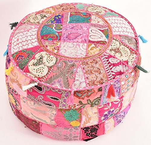khushvin Handmade Pouf Indian Patchwork Foot stool Ottoman 22x14 Bohemian Indian Patchwork Ottoman pink Vintage Sari Patchwork Ottoman Traditional Ottoman