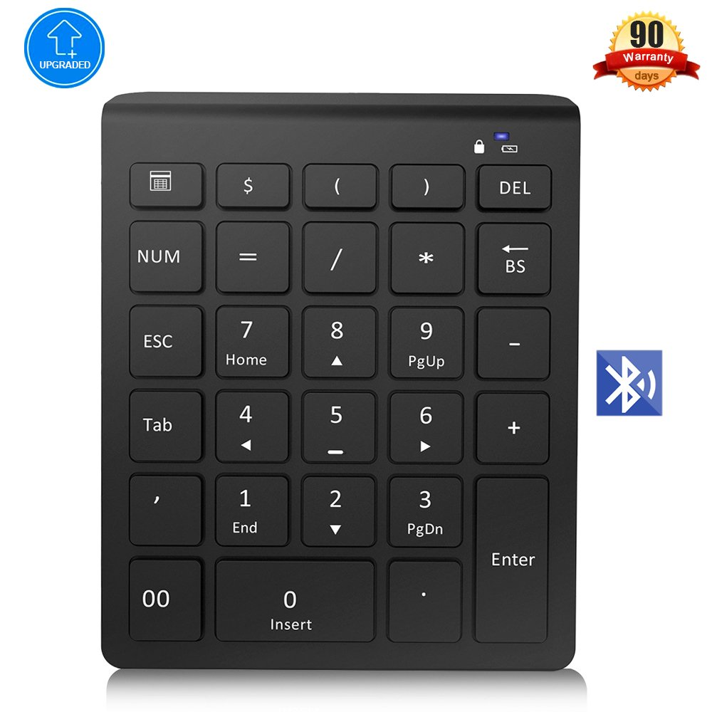 Bluetooth Numeric Keypad, Bluetooth Number Pad with Ultra-Light and Versatile, 28-Keys Wireless Number pad, Shortcuts for Smartphones, Tablet Surface Pro and More-Black