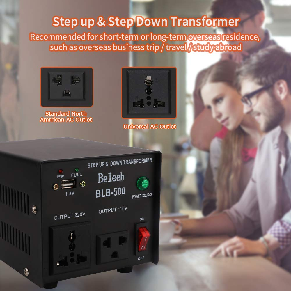 CE Certified Beleeb 2000W Auto Voltage Transformer Converter,Step Up /& Step Down 110-120 to 200-240 Volts,Solf Start Converter with LCD Display,Cuicuit Breaker Protection
