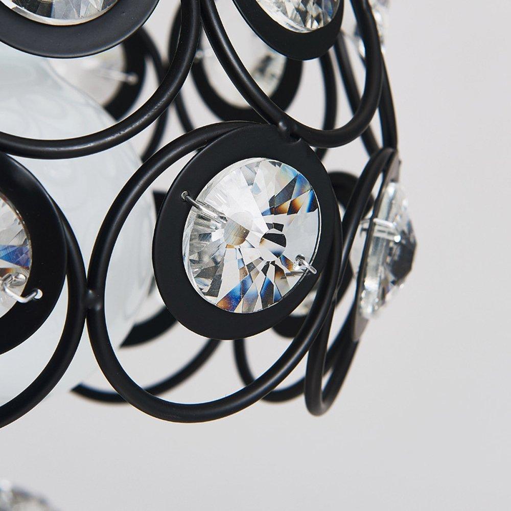 MKLOT Ecopower Retro Vintage Style 7.87 Wide Black Metal Crystal Hollow Multi Pendant Hanging Lighting Ceiling Lamp Chandelier use 1 E26 Bulb Antique Pendant Light
