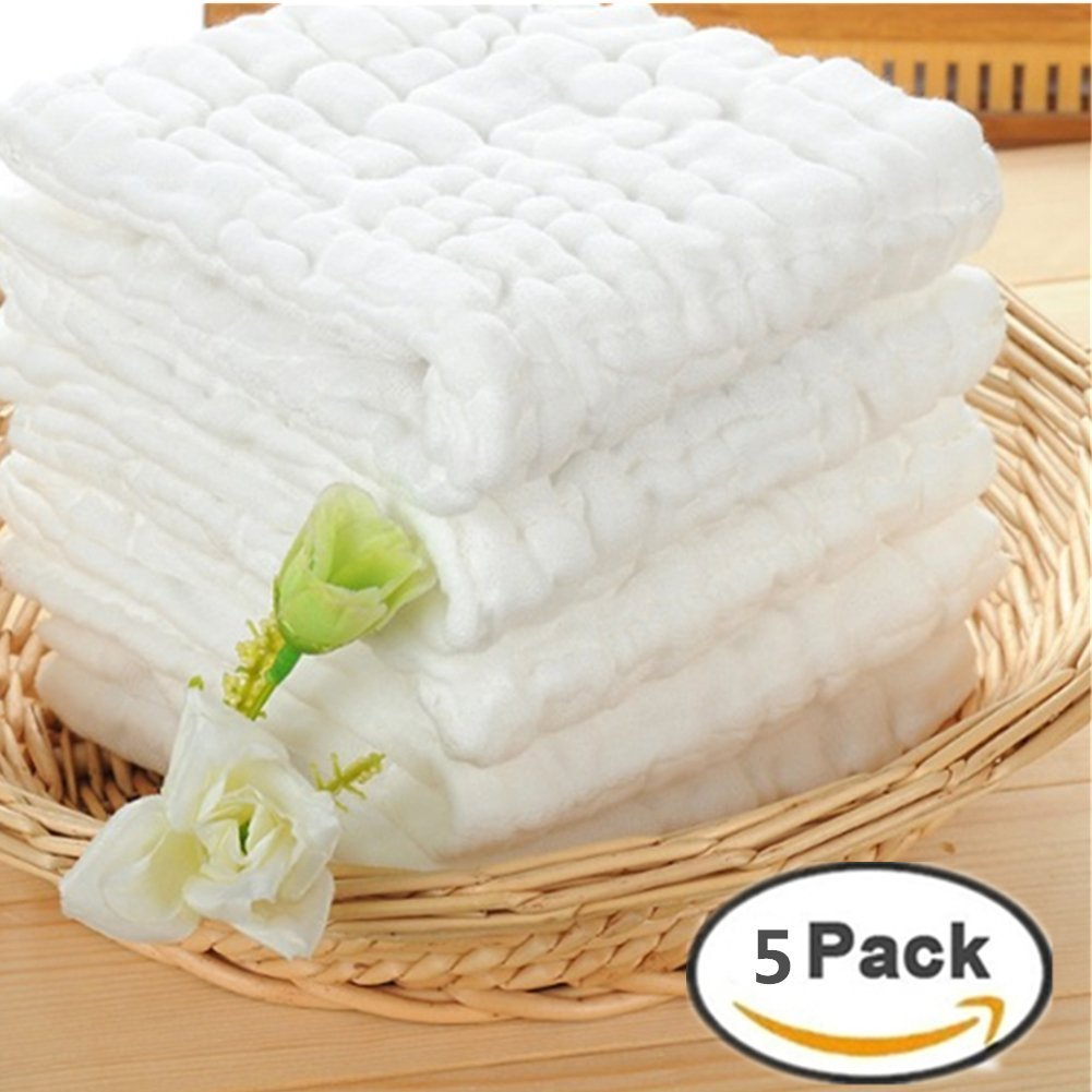 M.V 5pcs 6-Ply Ultra Soft 100% Cotton Baby Handkerchief Newborn Infant Gauze Bath Shower Cloths Towels Bibs£¬White Monvecle MVbaby-bathtowel