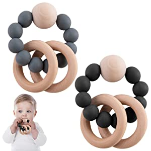 QUACOWW Baby Teething Ring Toy, Organic Baby Teething Ring Silicone Natural Wooden Infant Baby Bangle Teething Toys for Mouth Explore, BPA Free, 3+ Months(2 Pack)