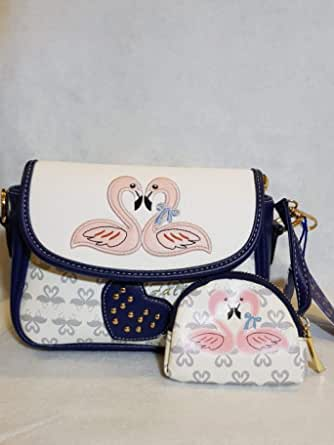 Modern Women Bag color dark blue and white with small Wallet