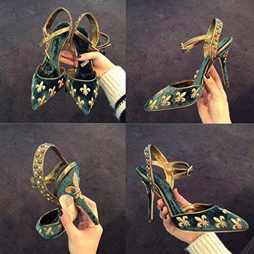 Zapatos de Tacón Alto con Punta de Diamantes de Imitación Zapatos con Zapatos UN