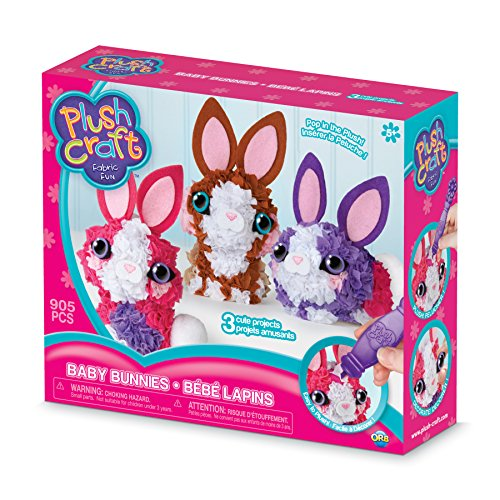 The Orb Factory Baby Bunnies 3D Multi Mini Arts & Crafts, Purple/Pink/Brown/White/Beige, 10