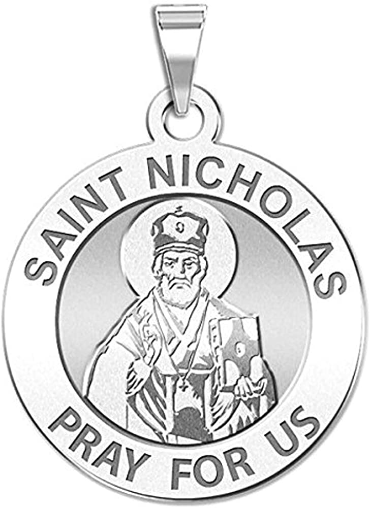 PicturesOnGold.com Saint Nicholas Religious Medal Sterling Silver 2//3 Inch Size of Dime