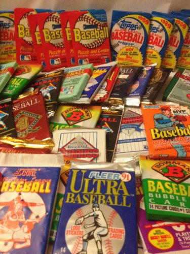 Large Product Image of 100 Vintage Baseball Cards in Old Sealed Wax Packs - Perfect for New Collectors