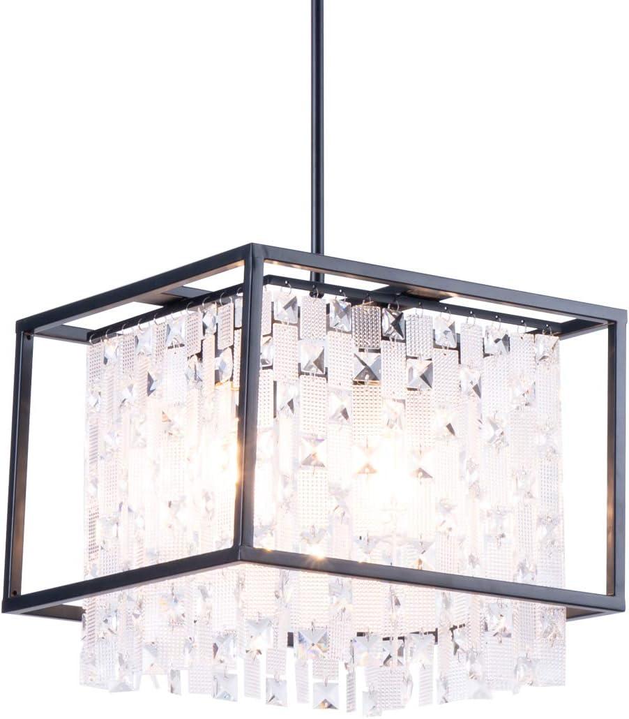SHENGYADI 14 Modern Kitchen Island Lighting, 4 Light Crystal Pendant Lighting with Rectangular Metal Shape, Dining Room Lighting Fixtures Hanging Black