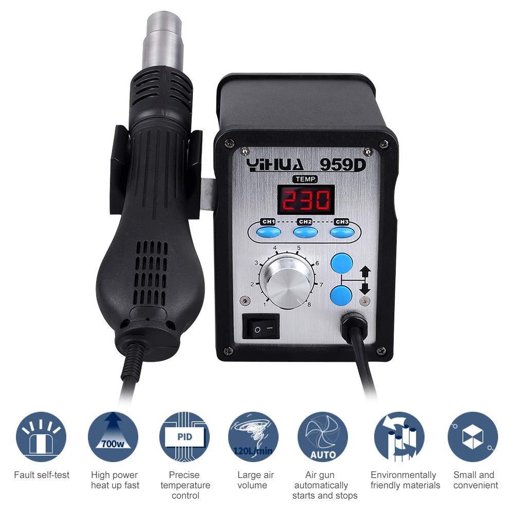 Estación de soldadura 959d soldador hierro desoldar pistola de aire caliente LED Digital Rework Station 100 ℃ ~ 500 ℃ para SMD: Amazon.es: Bricolaje y ...