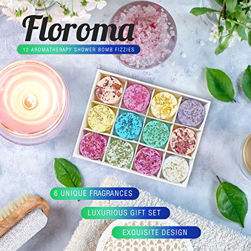 Floroma Aromatherapy Shower Steamers - Variety Set Of 12x Shower Bombs With Essential Oils For Relaxation. Shower Bomb Melts For Women Who Has Everything. Shower Steamer Tablets (Fizzies) For Home Spa