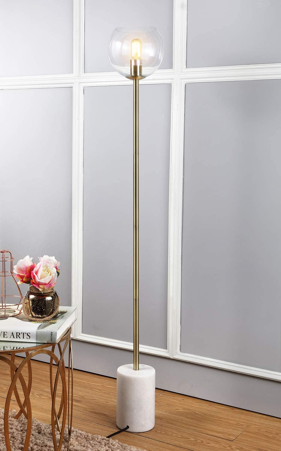 Safavieh FLL4002A Lighting Collection Bradley White and Brass Gold Floor Lamp,