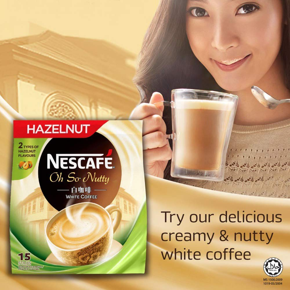Nestle Malaysia 3 In 1 Nescafe White Coffee Hazelnut Flavour Premix Instant Coffee Rich Aroma Halal Drinks Teatime Breakfast