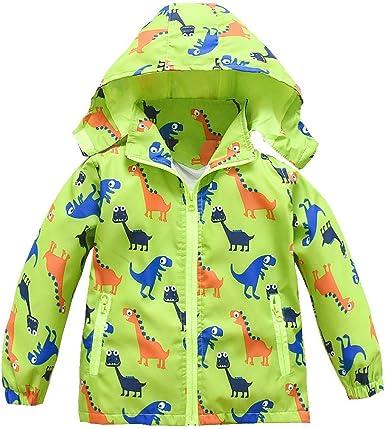 Baby Boys Raincoat Dinosaur Hooded Zip Jacket Coat Windproof Casual Outerwear Rain Windbreaker