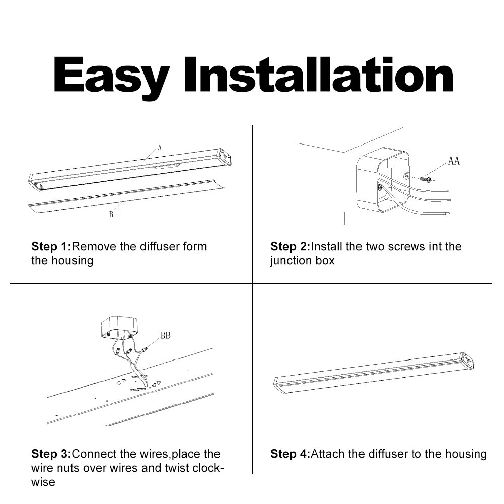 Bbounder Linkable Led Shop Lights For Garage 40w 4ft 5000k Daylight Basement Wiring Junction Box Wraparound Light Fixture Workshop Office 4 Pack Bay Lighting Tools