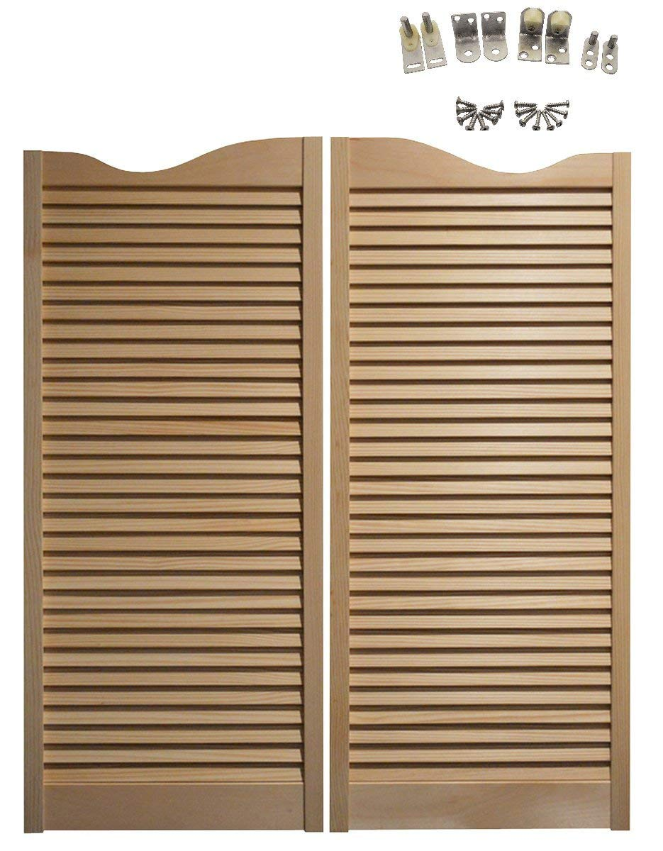 Pine Cafe Doors Premade for Any 36'' Finished Opening (42'' Tall Doors): Includes Satin Chrome Hinges - Other Sizes Available- Saloon Swing Bar Pub Swinging Swing Door by Swinging Cafe Doors