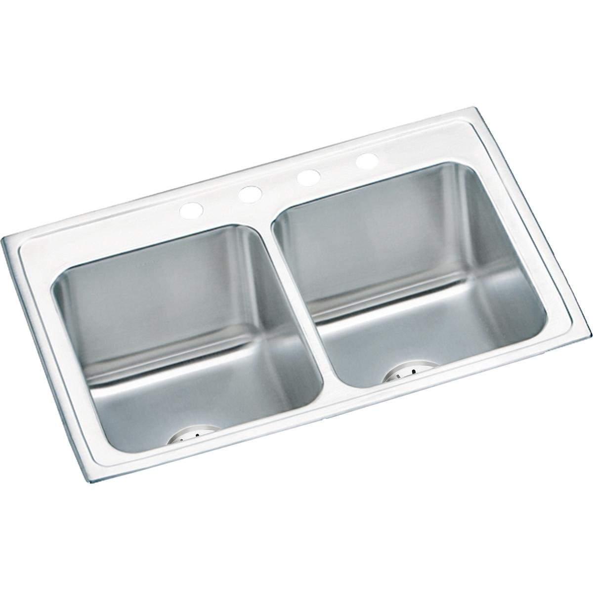 Elkay DLR332210PDMR2 18 Gauge Stainless Steel 33 x 22 x 10.125 Double Bowl Top Mount Kitchen Sink Kit