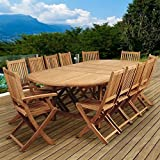 International Home Amazonia Teak 13 Piece Extendable Patio Dining Set For Sale
