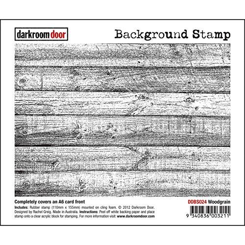Darkroom Door Background Cling Stamp 4x6-Woodgrain - Woodgrain Background Stamp