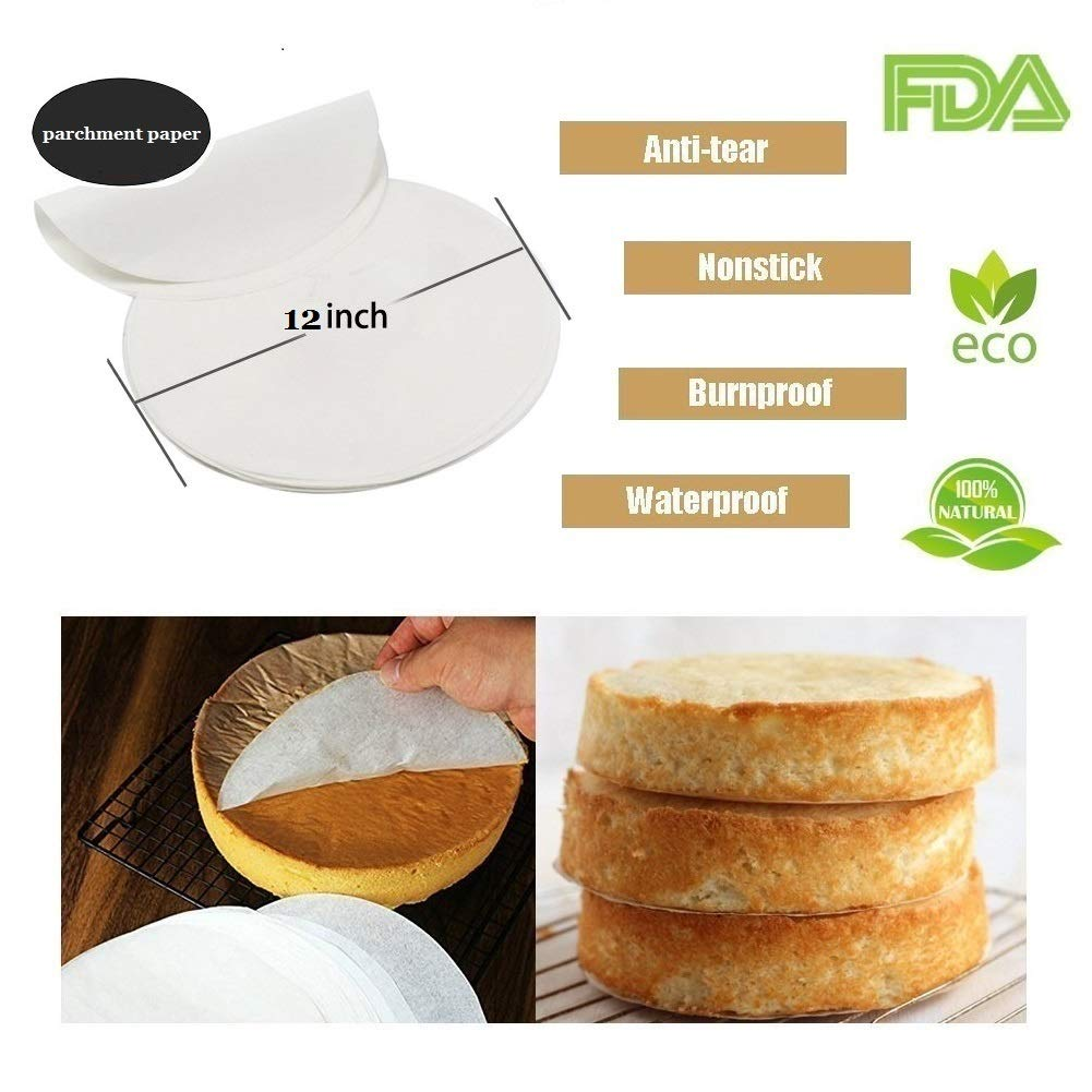 Set of 200 Non-Stick Round Parchment Paper 11 Inch Diameter,Baking Paper Liners Round for Cake Pans Circle