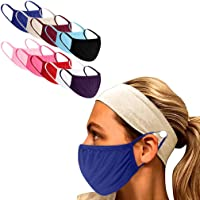 10PC Unisex Adults Washable Reusable Face Protective Cloth Cover for Man and Woman for Running,Riding (Beige+Hair Band)