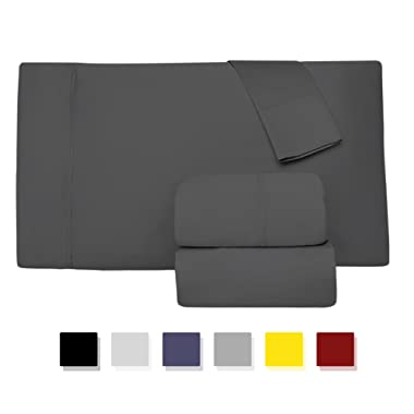 Comfy Sheets 800 Thread Count 100% Cotton Sheet Set, Stone Grey Queen Sheets 4 Piece Set, Long-staple Combed Pure Natural Cotton Bedsheets, Soft & Silky Sateen Weave by