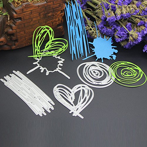 Cutting Dies,Pollyhb New Metal Cutting Dies Stencils Scrapbooking Embossing DIY Crafts,Butterfly Wreath Heart Shaped,for Card Making Scrapbooking (I:61X50MM 59X64.5mm 95X34mm ()