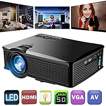 1500 Lumens LCD Mini Video Projector,ROFISA 1080P HD Multimedia Home Theater Portable Video Projector Support HDMI AV VGA USB SD for Home Cinema TV Laptop Game iPhone Android Smartphone