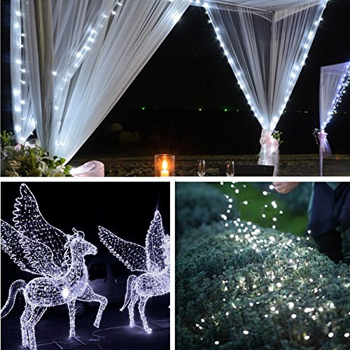 Solar String Lights, 2 Pack 100 LED Solar Fairy Lights 33 feet 8 Modes Copper Wire Lights Waterproof Outdoor String Lights for Garden Patio Gate Yard Party Wedding Indoor Bedroom Cool White - LiyanQ
