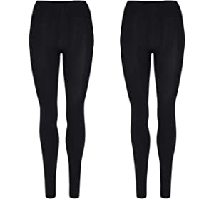 29acfefbd7712 Palleon Damen Thermo Leggings Lederoptik Traggings Hose S/M: Amazon ...