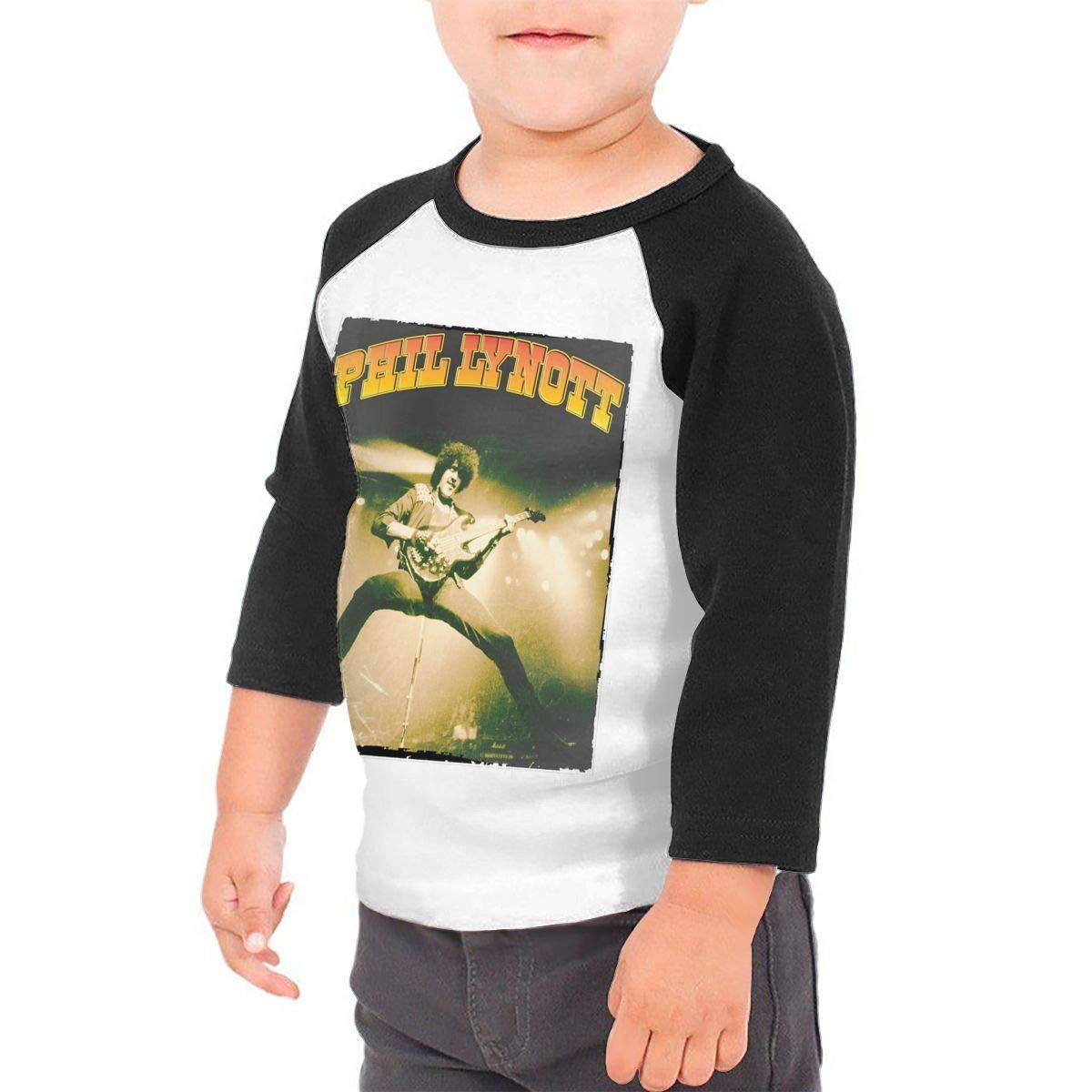 Black6Red Phil Lynott Childrens 3//4 Sleeve T-Shirt