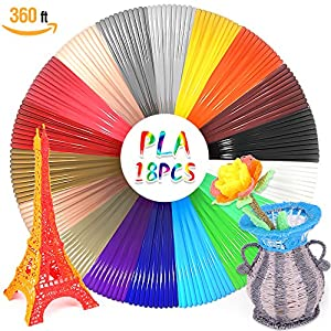 WESEN 3D Pen Filament Refills 3D Printing Drawing Pen Filament Refills Filament 1.75mm PLA with 18 Different Colors 20 Feet Per Color - Total 360 Feet by WESEN