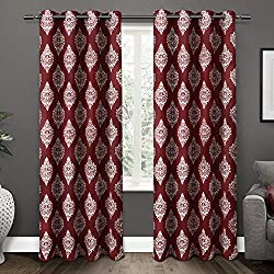 Exclusive Home Medallion Blackout Window Curtain Panel Pair with Grommet Top 52x96 Burgundy 2 Piece