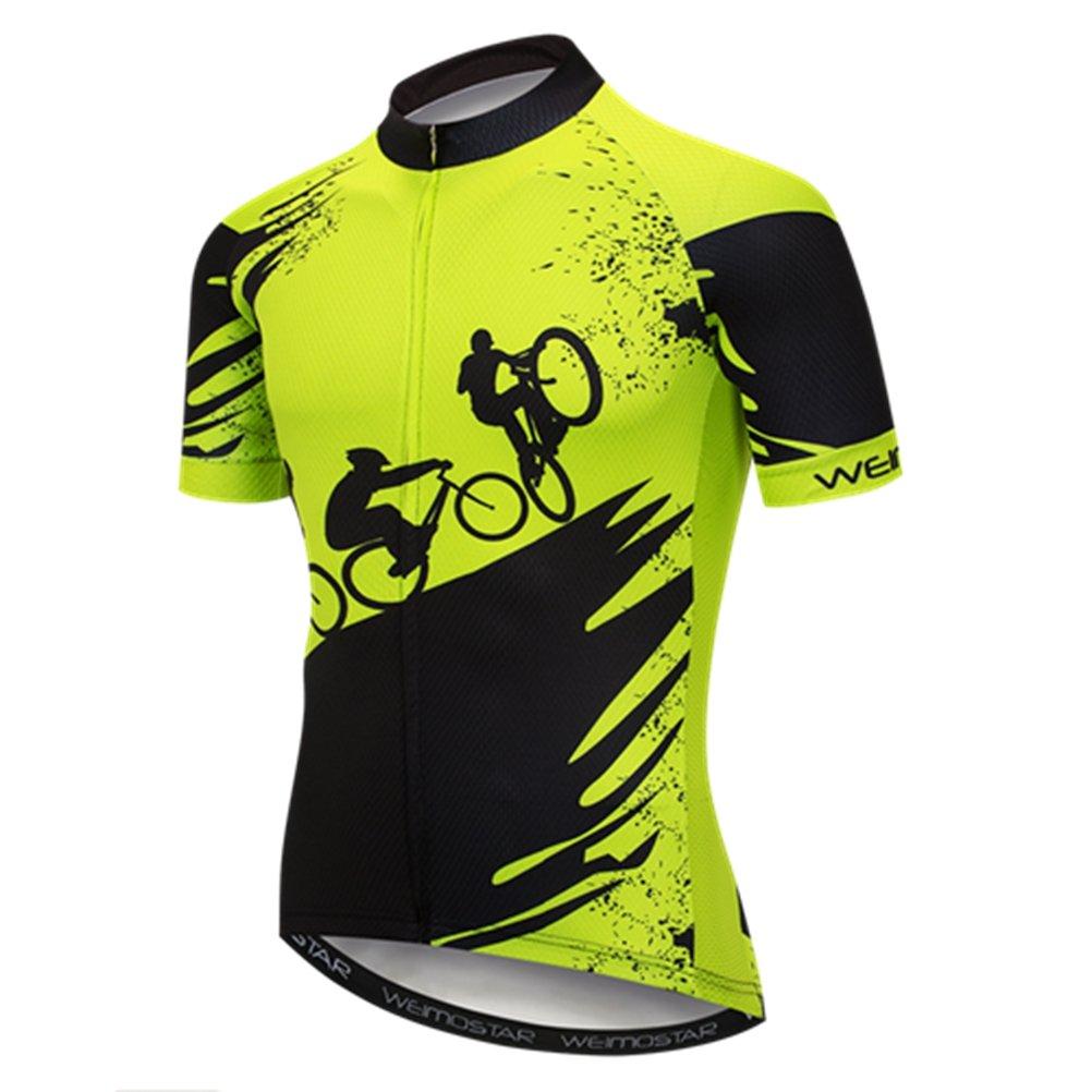 Weimostar - Maglia da ciclismo a maniche corte da uomo, in jersey, traspirante, estiva, colore: nero/verde