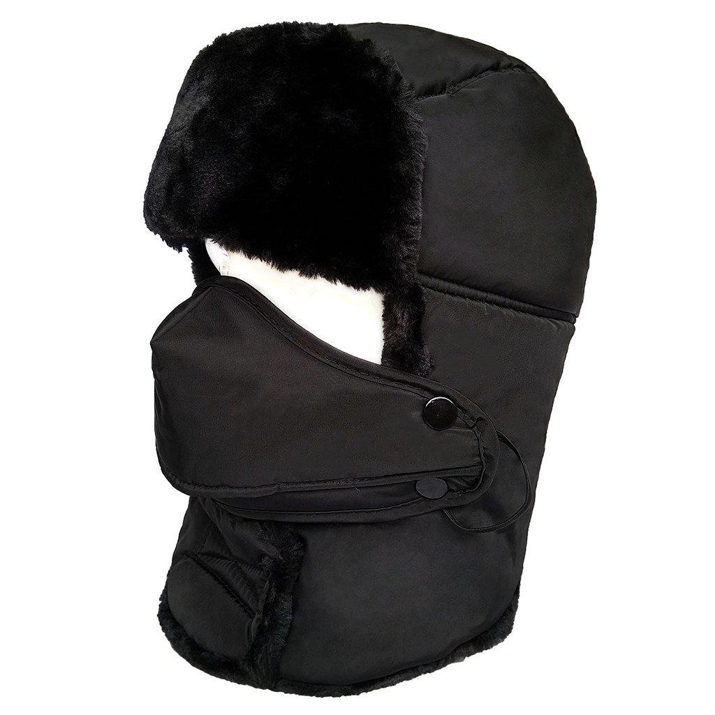 LETHMIK Winter Trapper Ushanka Hat Unisex Faux Fur Waterproof Hunting Hat with Breathable Mask Black