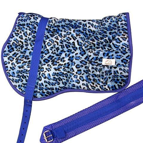 Best Friend Western Style Bareback Saddle Pad, Leopard Print Blue