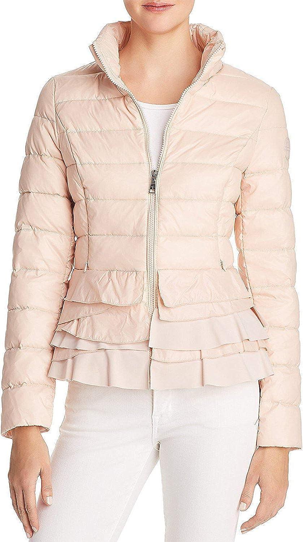 Tahari T Tahari Zoey Ruffled Puffer Packable Coat