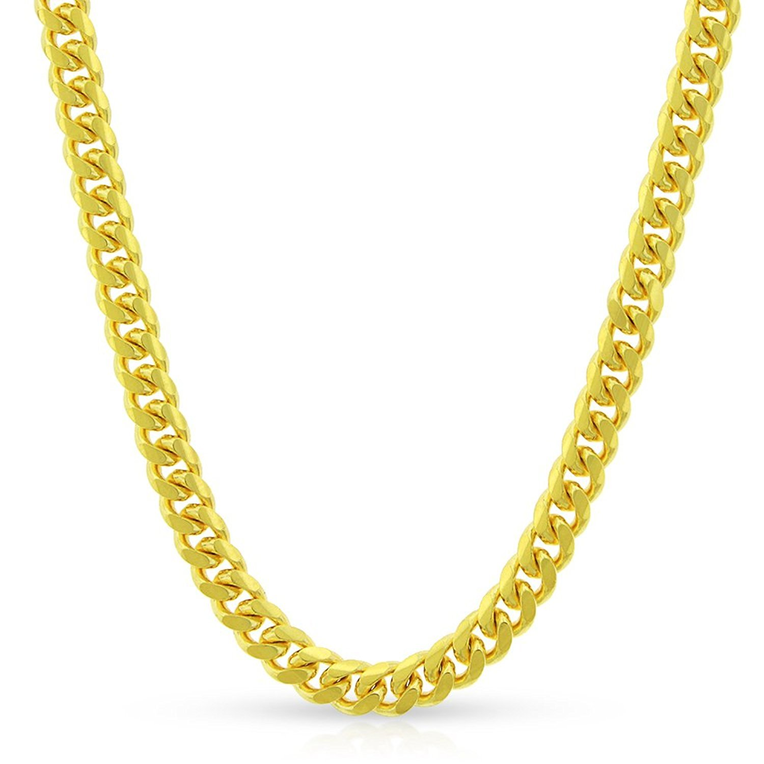 10k Yellow Gold 4mm Solid Miami Cuban Curb Link Necklace Chain 20'' - 30'' (24)