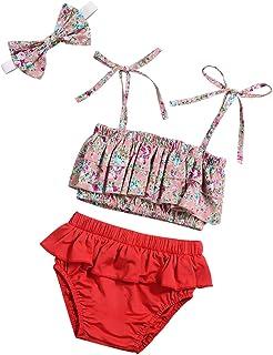 db897a2f2baf7 Baby Girl Swimsuit Floral Bikini and Ruffle Skirt Swimwear Outfit with  Headband 3Pcs