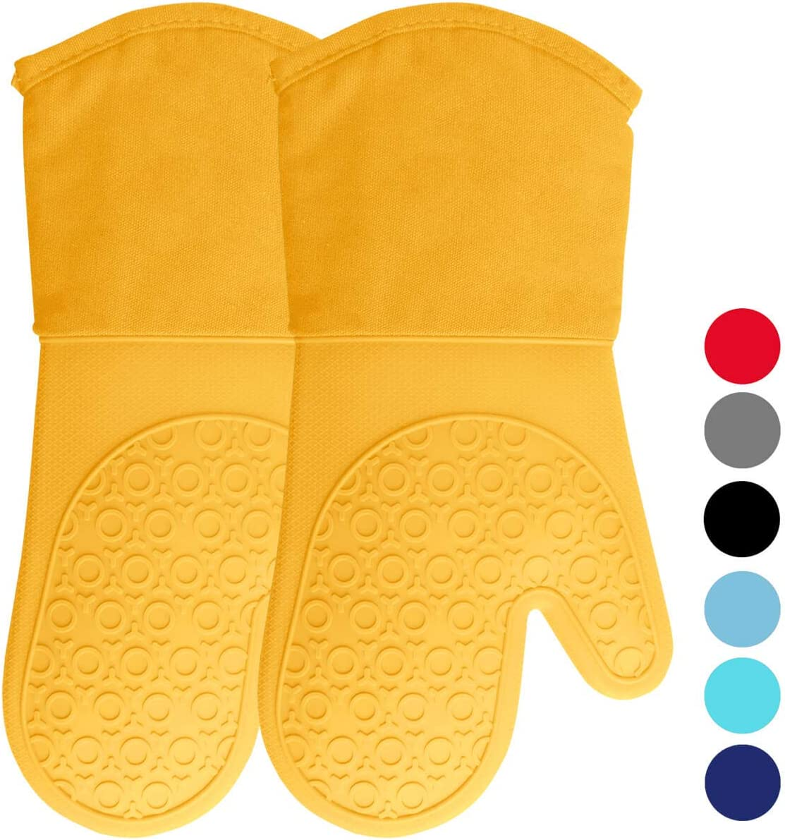 HOMWE Extra Long Professional Silicone Oven Mitt, Oven Mitts with Quilted Liner, Heat Resistant Pot Holders, Flexible Oven Gloves, 1 Pair, 13.7 Inch, Yellow
