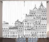 Ambesonne European Decor Curtains, Hand Drawn Italian Town Buildings Cityscape Famous Urban Houses Artsy Design, Living Room Bedroom Window Drapes 2 Panel Set, 108W X 63L Inches, White Grey