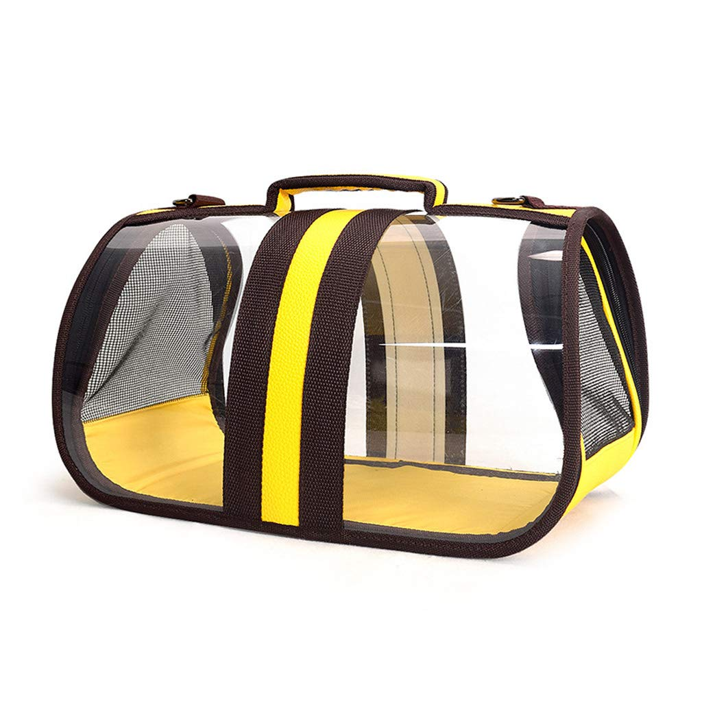 Yellow S. 37x21.5x21.5cm Yellow S. 37x21.5x21.5cm Pet Dog Backpack Cat Transparent Cages Sunscreen Waterproof Not Stuffy Portable Capsule Cage Bag Easy Bag