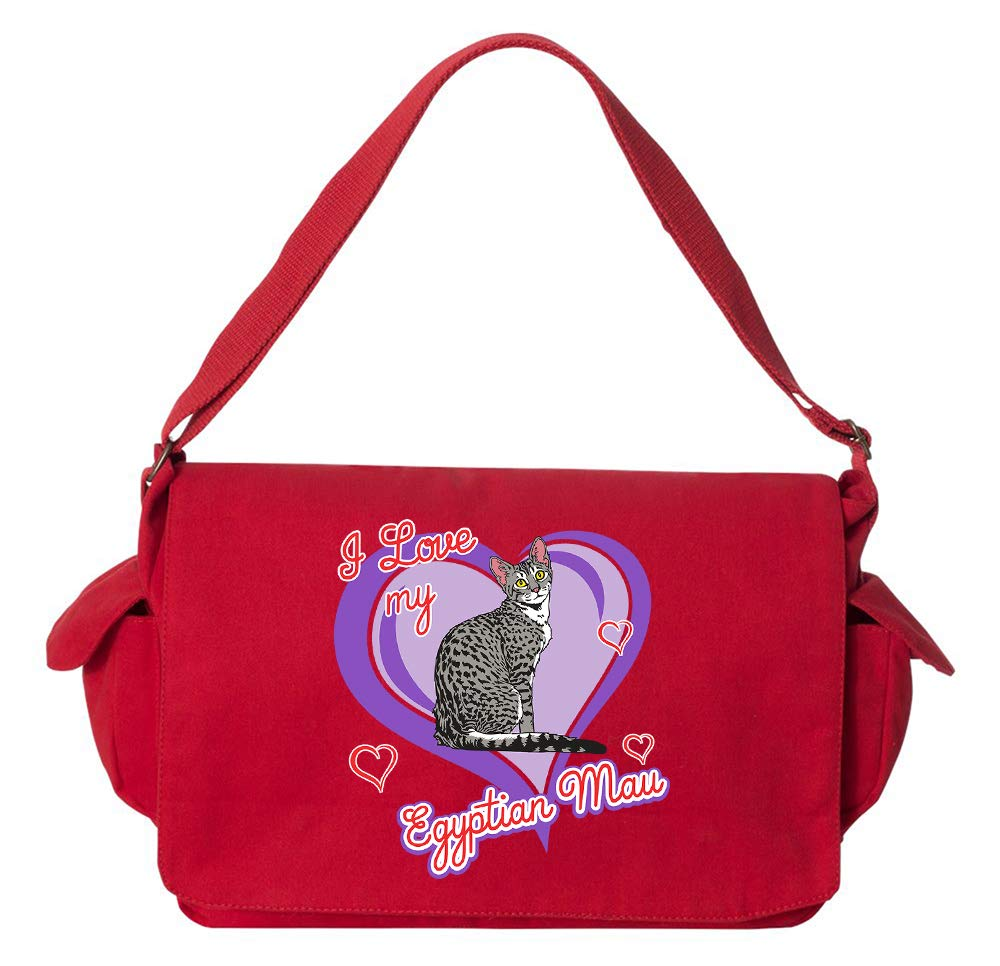 Tenacitee Egyptian Mau Cat Red Brushed Canvas Messenger Bag